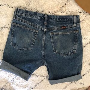 Vintage Shorts - Vintage rolled cut off Rustler jean denim shorts